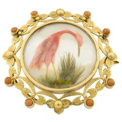 Victorian Coral Mother-of-Pearl Gold and Feathers Brooch