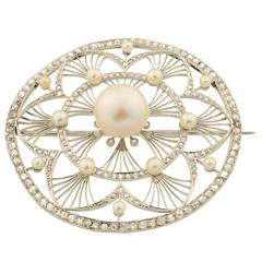 Belle Époque Pearls Diamonds Platinum Brooch