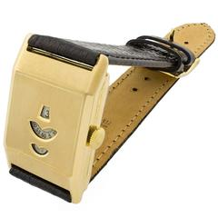 Art Deco Gold Jump Hour Wristwatch