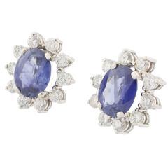 Sapphire Diamonds white gold Cluster Earrings