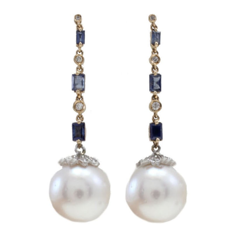 Pearl Sapphire Diamond Gold Dangle Earrings