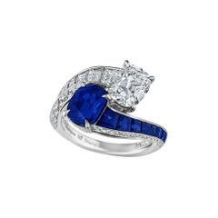 Kashmir Sapphire Diamond Platinum Toi et Moi Ring