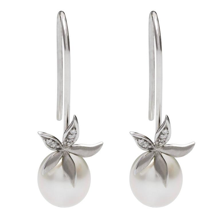 Pearls 0 6 Carat White Diamond Drop South Sea Pearl Flower Earrings For