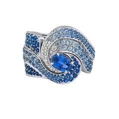 Vanleles Blue Sapphire Diamond White Gold Oceana Ring