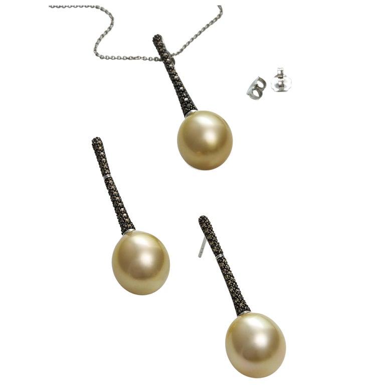 Lust Pearls 0.55 Carat Cognac Diamond Golden South Sea Pearl Pendant Earring Set For Sale