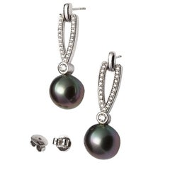 Lust Pearls 0.53 Carat Diamond Tahitian South Sea Pearl White Gold Earrings