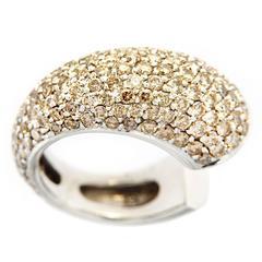 Jona Cognac Diamond 18 Karat White Gold Pinky Dome Ring