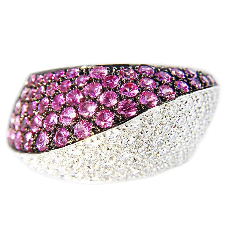 Jona Pink Sapphire and White Diamond Pave 18k White Gold Dome Ring For Sale