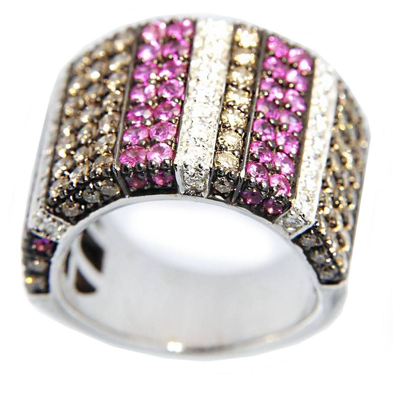 Jona Pink Sapphire White and Brown Diamond Wide Pavé 18 k White Gold Ring Band