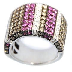 Jona Pink Sapphire White and Brown Diamond Wide Pavé 18K White Gold Ring Band