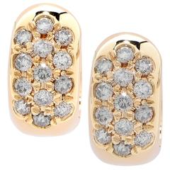 .45 Carats Diamonds Yellow Gold Small Huggie Earrings