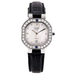 Clerc Ladies Stainless Steel Mother-of-Pearl Dial Diamond Bezel Wristwatch