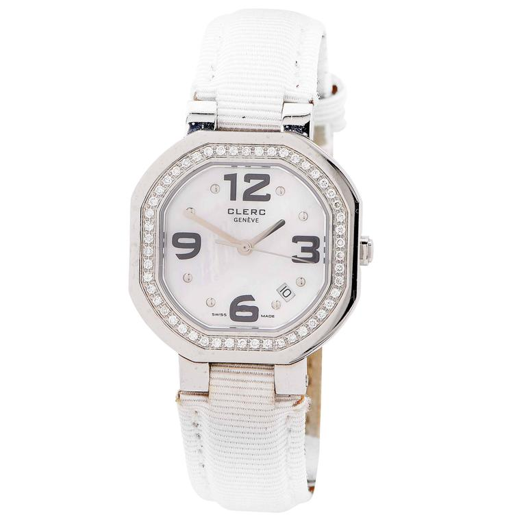 Clerc Ladies Stainless Steel Mother of Pearl Dial Diamond Bezel Wristwatch