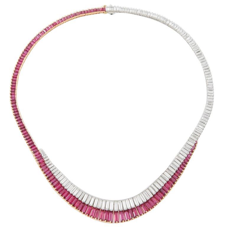 Oscar Heyman Ruby Diamond Necklace