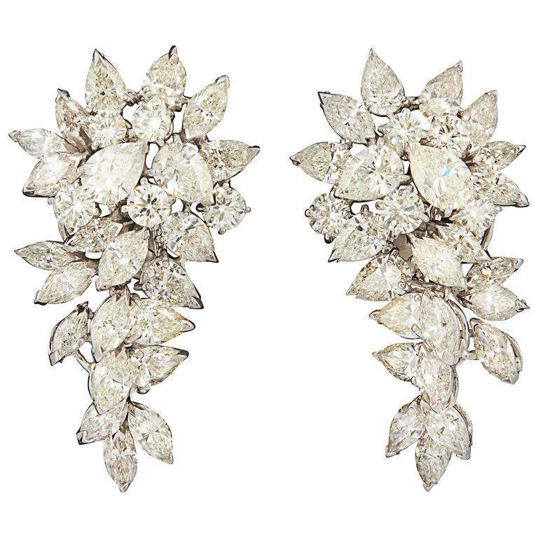 Cluster Diamond White Gold Dangle Earrings