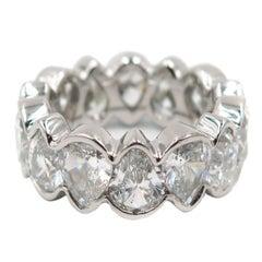 Pear Shaped Diamond Platinum Eternity Band Ring