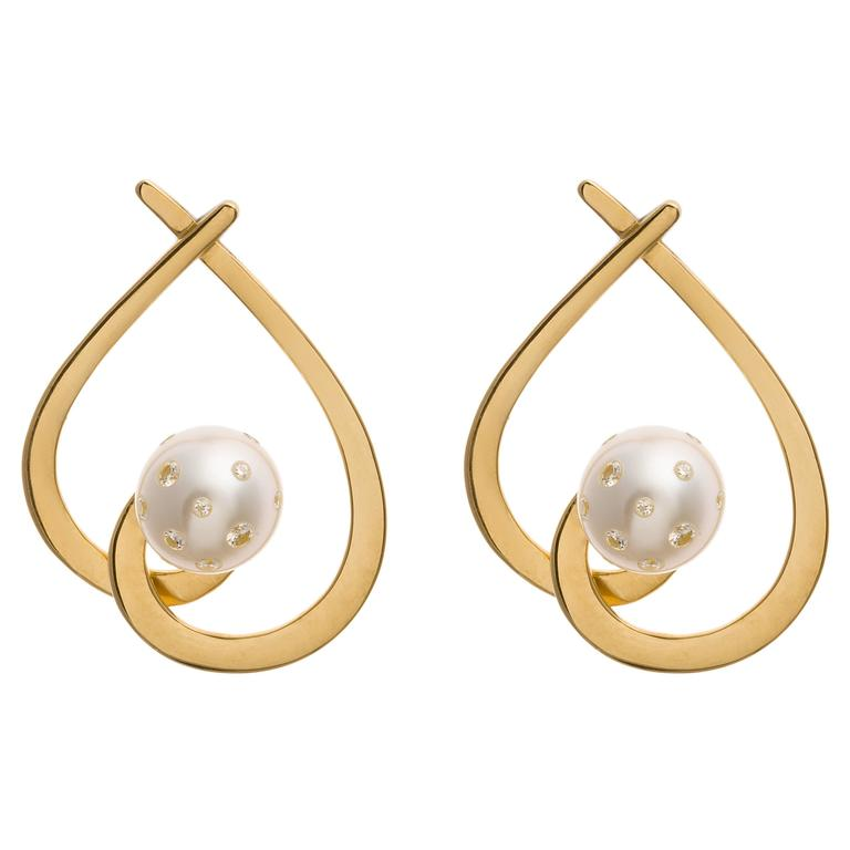 Lust Pearls 0.32 Carat White Diamond South Sea White Pearl Aria Drop Earrings For Sale