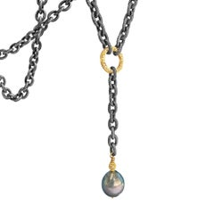 Liza Beth Tahitian Peacock Pearl Diamond Gold Textured Steel Lariat Necklace