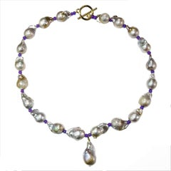 Gemjunky Baroque Pearl Necklace with Center Pearl Dangle