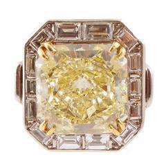 Gia Graded 10.26 Carat Fancy Yellow Diamond Platinum Ring