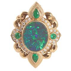 Paula Crevoshay 7.33 Carat Black Opal Diamond Gemstone Gold Ring