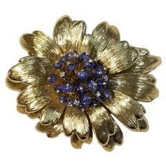 Tiffany & Co. Sapphire Diamond Gold Foliate Brooch