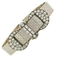 Van Cleef & Arpels Diamond Platinum White Gold Bracelet Ladies Wristwatch