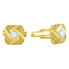 Diamond-Set Woven Gold Cufflinks
