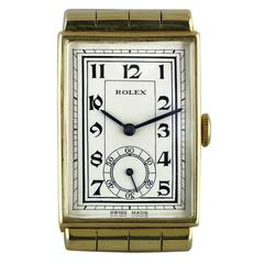 Rolex Yellow Gold Art Deco Wristwatch with Hooded Lugs, 1937