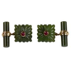 Carved Squared Jade and Ruby Gold Cufflinks