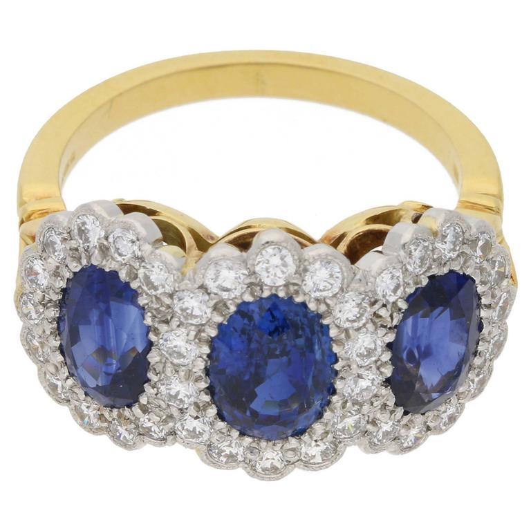 Sapphire Diamond Triple Cluster Engagement Ring
