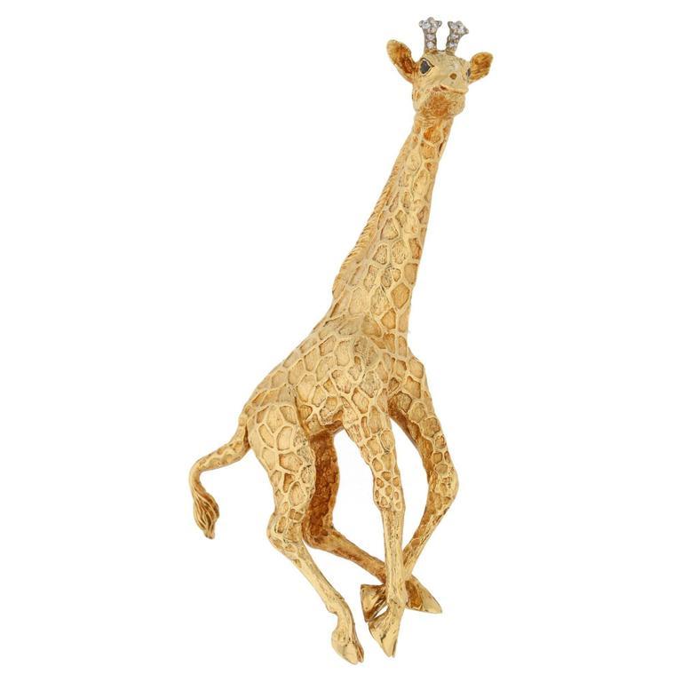 386e9349c752c Tiffany & Co. Gold Diamond Giraffe Brooch