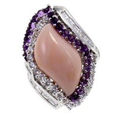 Gold Diamond Coral Amethyst Cocktail Ring