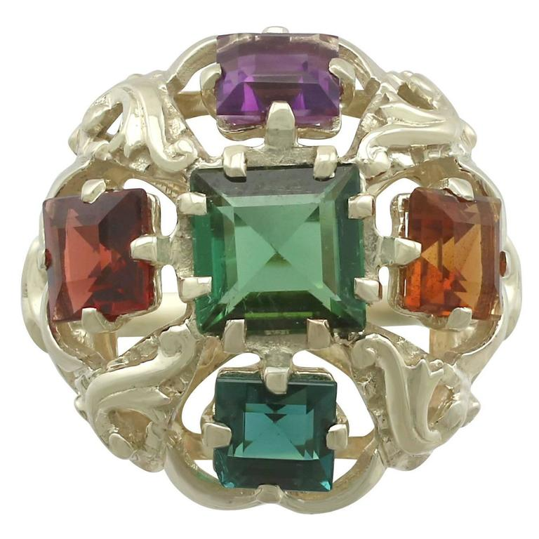 1960s Peridot, Citrine, Garnet, Amethyst, Tourmaline and Yellow Gold Ring For Sale