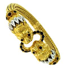 Ilias Lalaounis Greece Sapphire Diamond 18 karat Yellow Gold Chimera Bracelet