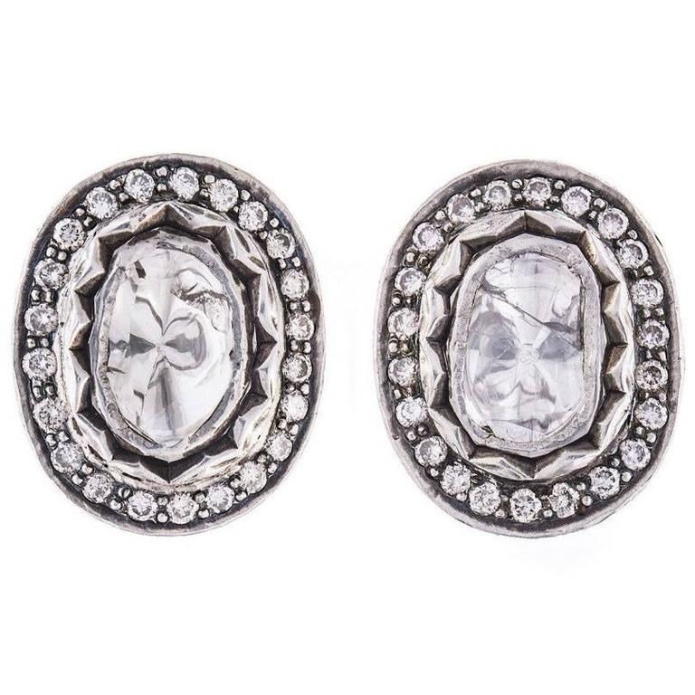 Vintage Gold and Silver 1.25 Carat Diamond Foiled Back Earrings