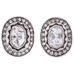 Vintage 1.25 Carat Diamond Foiled Back Earrings