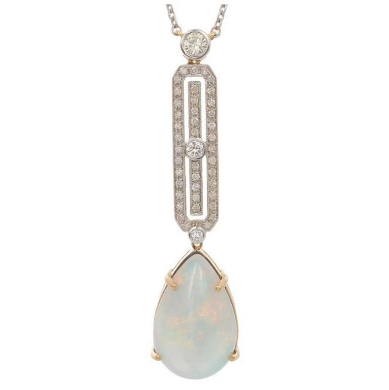 12.00 Carat Opal and Diamond Necklace For Sale