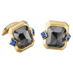 Naomi Sarna Blue Sapphire Black Diamond Yellow Gold Cufflinks