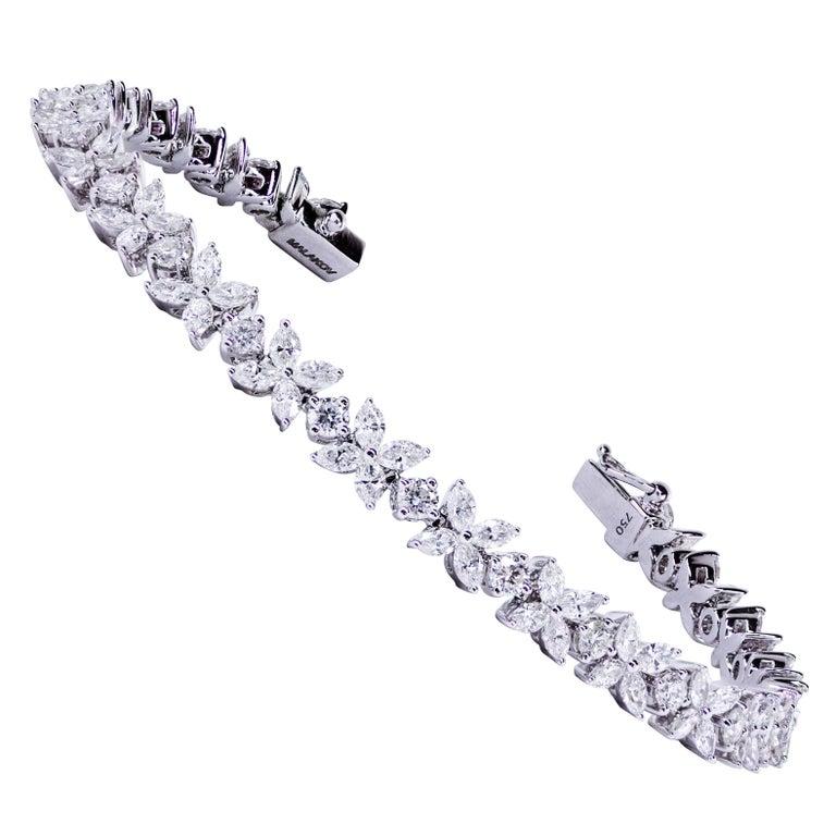 6.23 Carats Diamonds White Gold Line Bracelet