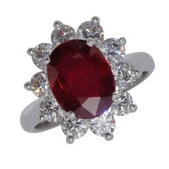 Ruby Diamonds White Gold Engagement Ring