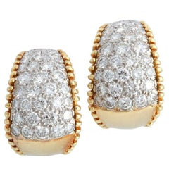 1970s Pave Set Diamond and Gold Hoop Clip Earrings