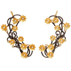 Diamond Silver Gold Flower Vine Earcuffs