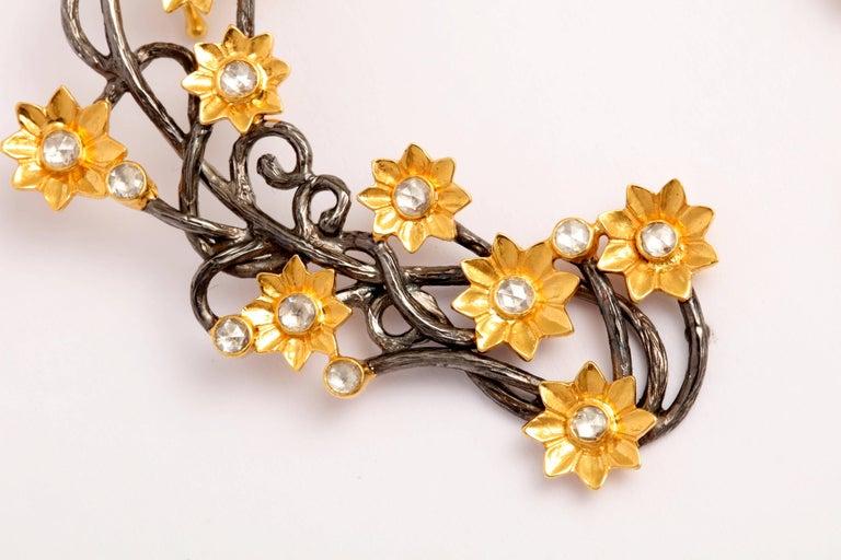 Contemporary Diamond Silver Gold Flower Vine Earcuffs For Sale