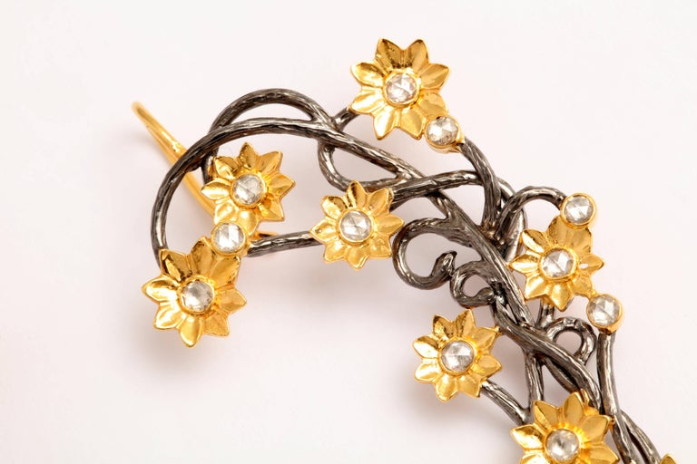 Diamond Silver Gold Flower Vine Earcuffs In Excellent Condition For Sale In Fifth Avenue, NY