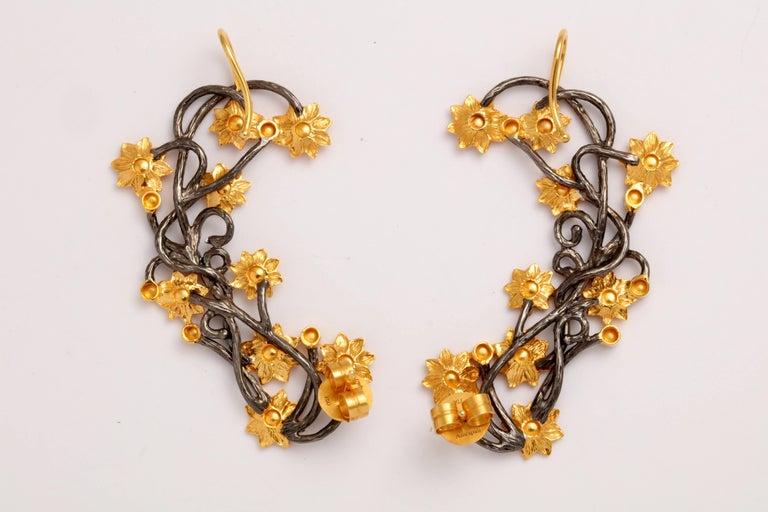 Women's Diamond Silver Gold Flower Vine Earcuffs For Sale