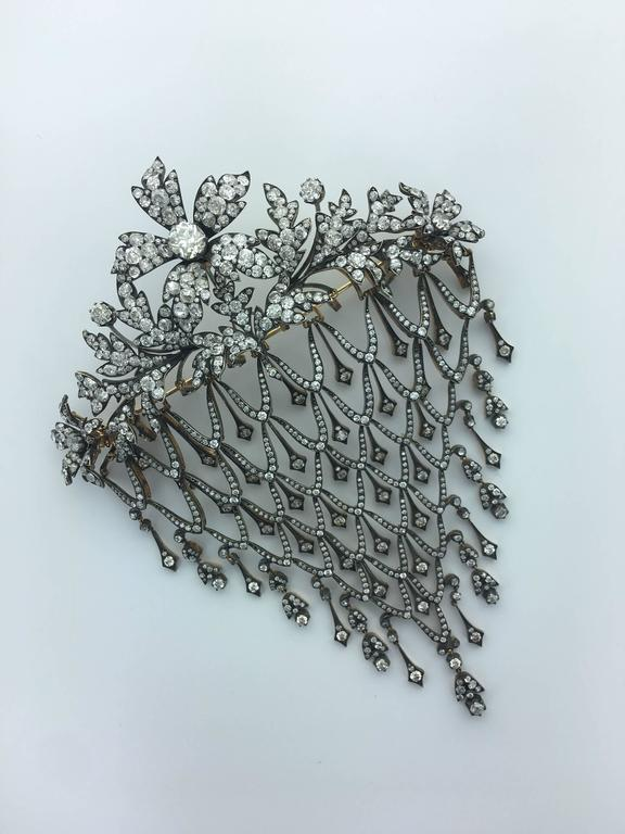 Impressive Diamond Flower En Tremblant Stomacher Hair Ornament Brooch 8