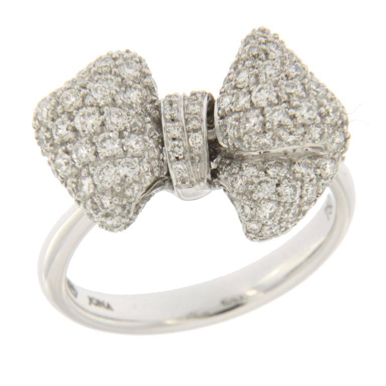 Jona White Diamond Pave 18 Karat White Gold Ribbon Bow Ring