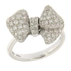 Jona Diamond Pave Gold Ribbon Bow Ring
