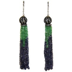 Marina J Emerald and Iolite Tussle Earrings with Diamond incrusted silver cups
